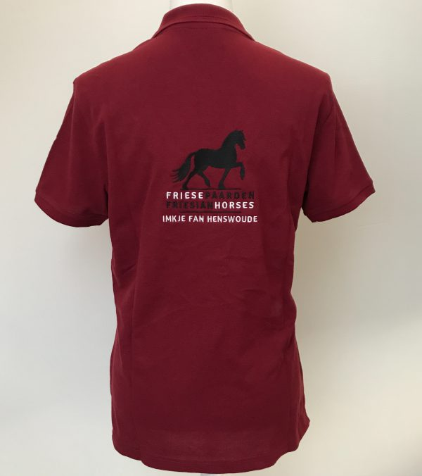 Ladies polo, back side, burgundy, Frisian Horses / Friesian Horses, from ZijHaven3, borduurstudio Lemmer