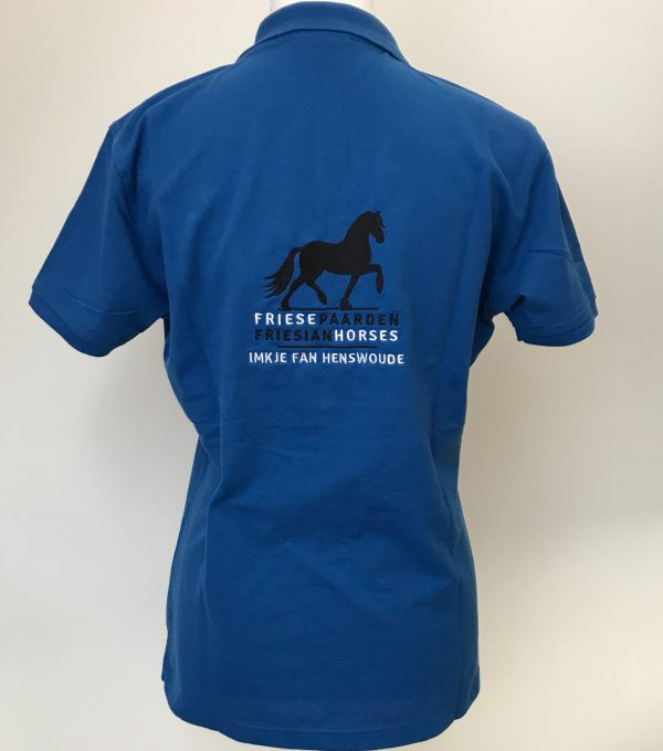 Ladies polo, back side, cobalt blue, Frisian Horses / Friesian Horses, from ZijHaven3, borduurstudio Lemmer
