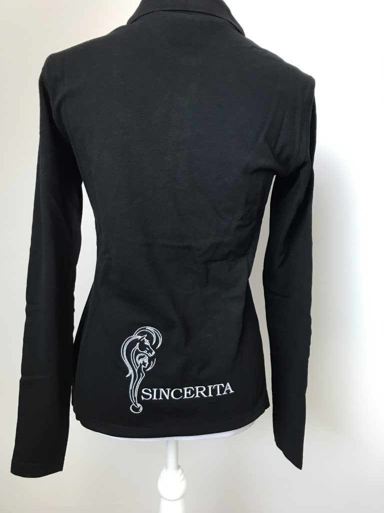 Polo long sleeve, ladies, with company logo, by ZijHaven3, borduurstudio Lemmer