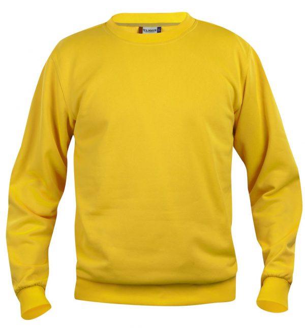 Sweater lemon met logo Friese Paarden / Fresian Horses door ZijHaven3, borduurstudio Lemmer
