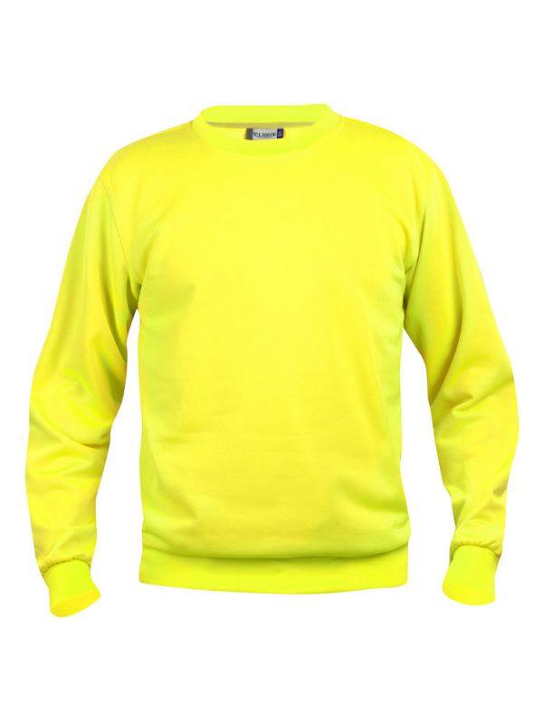 Sweater signaal geel met logo Friese Paarden / Fresian Horses door ZijHaven3, borduurstudio Lemmer