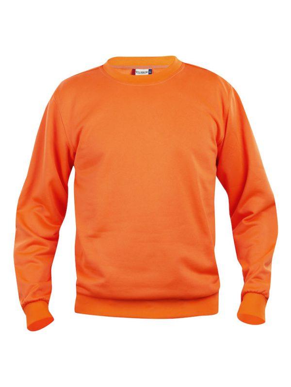 Sweater signaal oranje met logo Friese Paarden / Fresian Horses door ZijHaven3, borduurstudio Lemmer