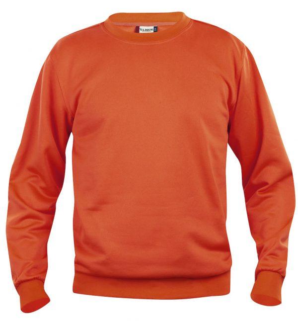 Sweater diep oranje met logo Friese Paarden / Fresian Horses door ZijHaven3, borduurstudio Lemmer