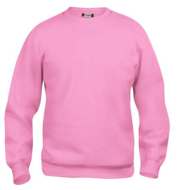 Sweater helder roze met logo Friese Paarden / Fresian Horses door ZijHaven3, borduurstudio Lemmer