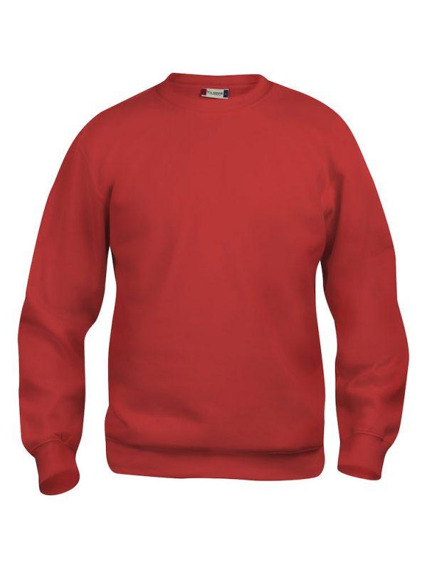Sweater rood met logo Friese Paarden / Fresian Horses door ZijHaven3, borduurstudio Lemmer