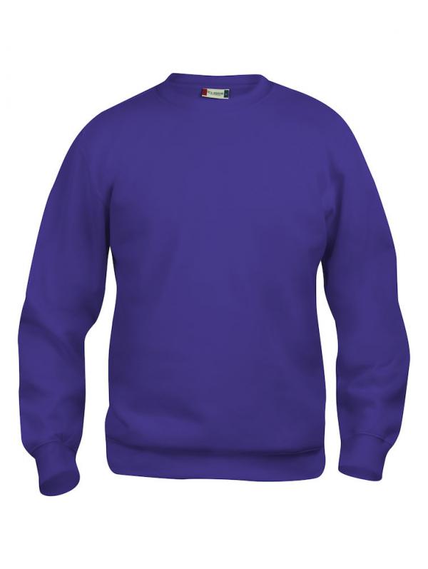 Sweater helder lila, met logo Friese Paarden / Fresian Horses door ZijHaven3, borduurstudio Lemmer