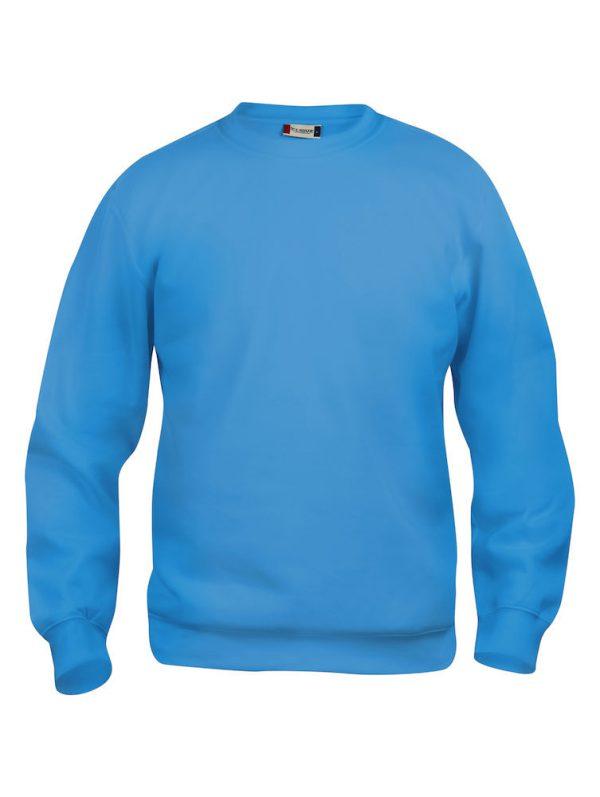 Sweater turquoise met logo Friese Paarden / Fresian Horses door ZijHaven3, borduurstudio Lemmer
