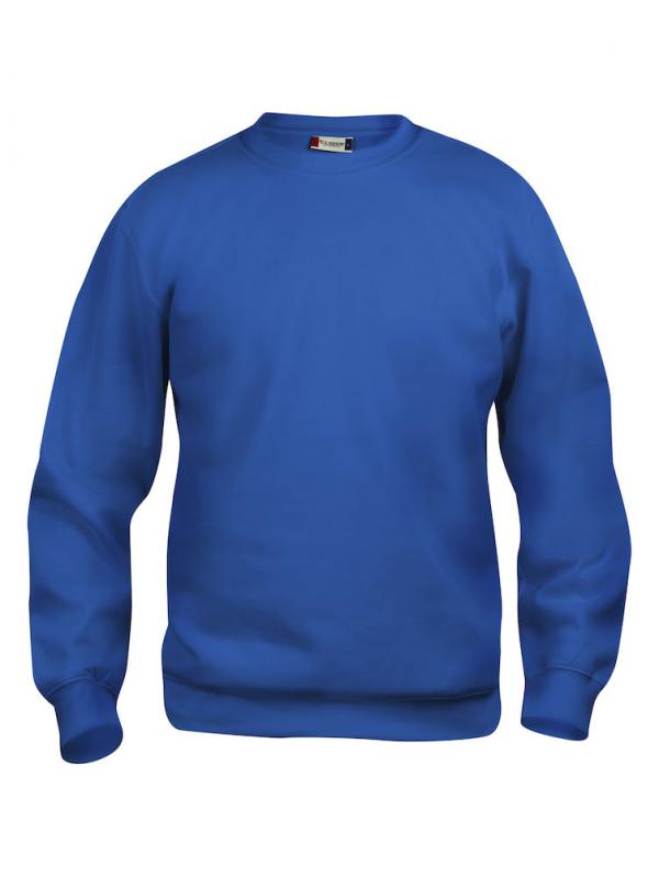 Sweater kobalt blauw met logo Friese Paarden / Fresian Horses door ZijHaven3, borduurstudio Lemmer