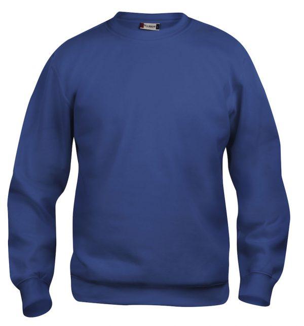Sweater blauw met logo Friese Paarden / Fresian Horses door ZijHaven3, borduurstudio Lemmer