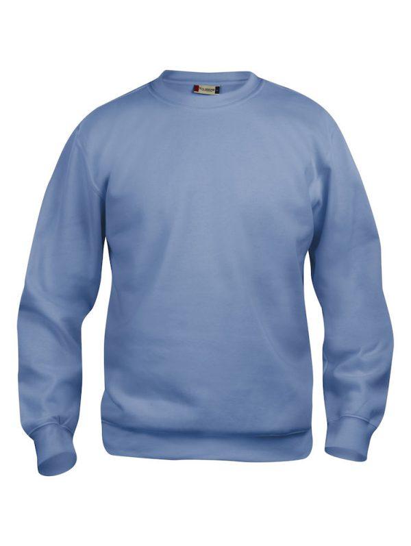Sweater licht blauw met logo Friese Paarden / Fresian Horses door ZijHaven3, borduurstudio Lemmer