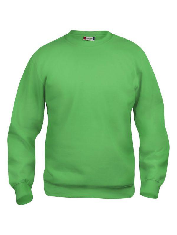 Sweater appel groen met logo Friese Paarden / Fresian Horses door ZijHaven3, borduurstudio Lemmer
