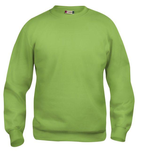 Sweater licht groen met logo Friese Paarden / Fresian Horses door ZijHaven3, borduurstudio Lemmer