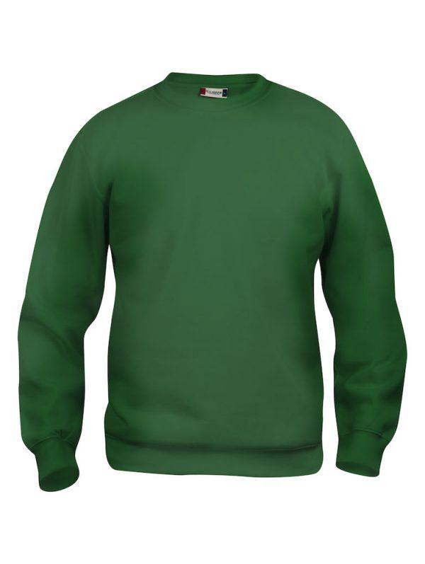 Sweater flessen groen met logo Friese Paarden / Fresian Horses door ZijHaven3, borduurstudio Lemmer