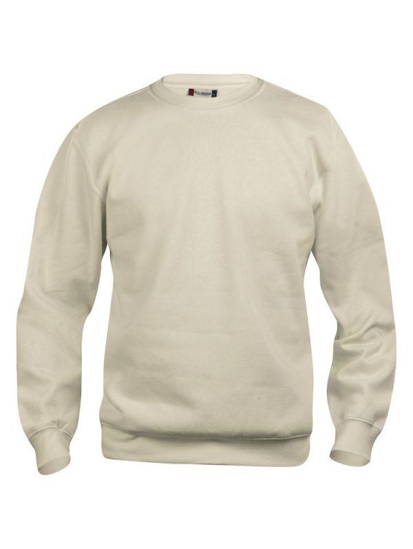 Sweater licht khaki met logo Friese Paarden / Fresian Horses door ZijHaven3, borduurstudio Lemmer