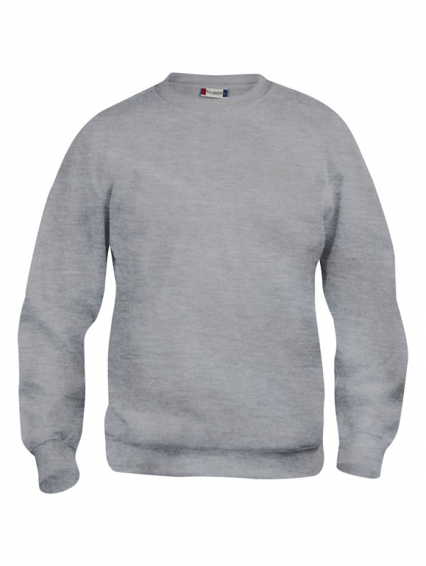 Sweater grijs gemeleerd, met logo Friese Paarden / Fresian Horses door ZijHaven3, borduurstudio Lemmer