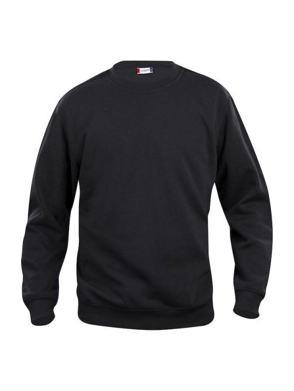 Sweater zwart met logo Friese Paarden / Fresian Horses door ZijHaven3, borduurstudio Lemmer
