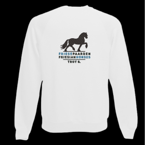 Sweater wit met logo Friese Paarden / Fresian Horses door ZijHaven3, borduurstudio Lemmer