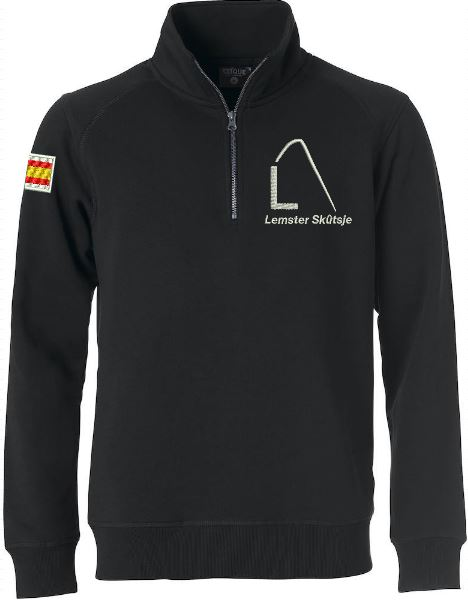 Moderne sweater met halve rits, unisex, zwart, met logo Lemster Skûtsje, door ZijHaven3 borduurstudio Lemmer