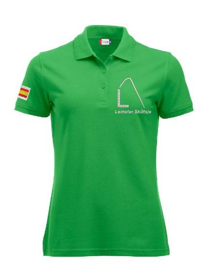 Dames polo, appel groen, met logo Lemster Skûtsje, door ZijHaven3 borduurstudio Lemmer