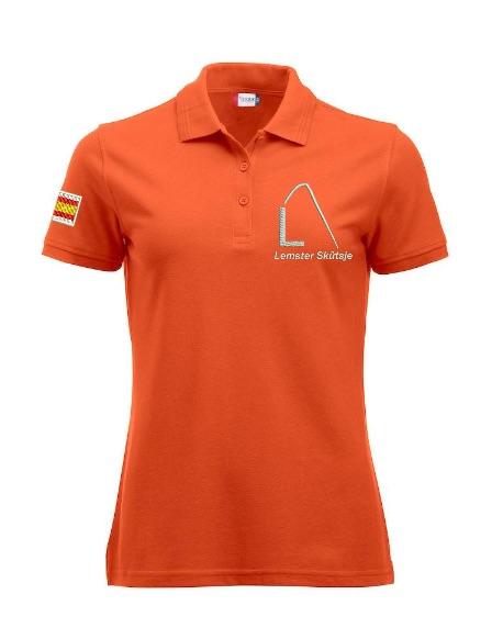 Dames polo, oranje, met logo Lemster Skûtsje, door ZijHaven3 borduurstudio Lemmer