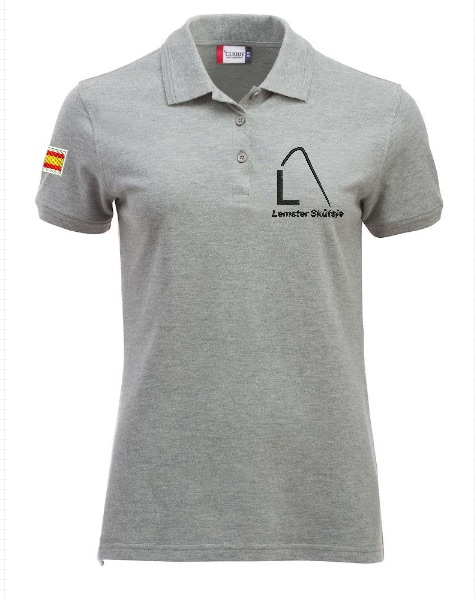Dames polo, gemeleerd grijs, met logo Lemster Skûtsje, door ZijHaven3 borduurstudio Lemmer