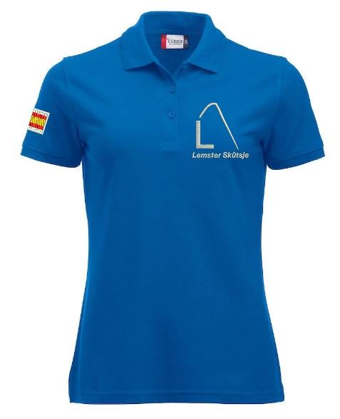 Dames polo, kobalt blauw, met logo Lemster Skûtsje, door ZijHaven3 borduurstudio Lemmer