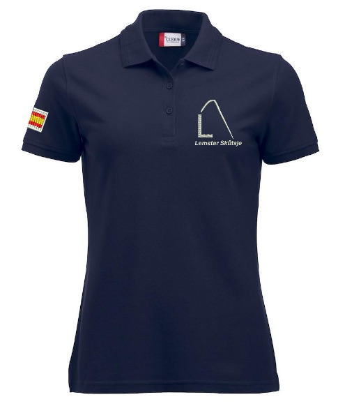 Dames polo, navy, met logo Lemster Skûtsje, door ZijHaven3 borduurstudio Lemmer