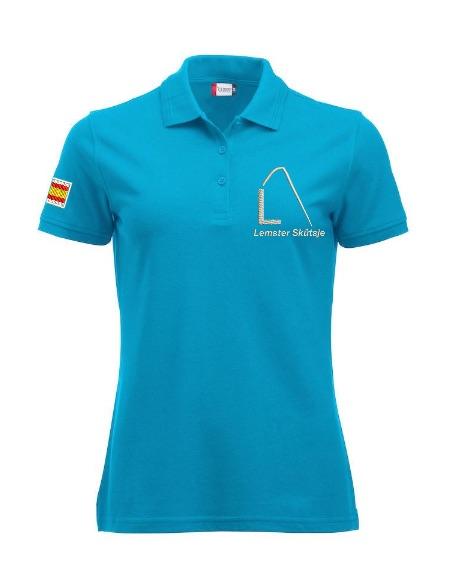Dames polo, turquoise, met logo Lemster Skûtsje, door ZijHaven3 borduurstudio Lemmer