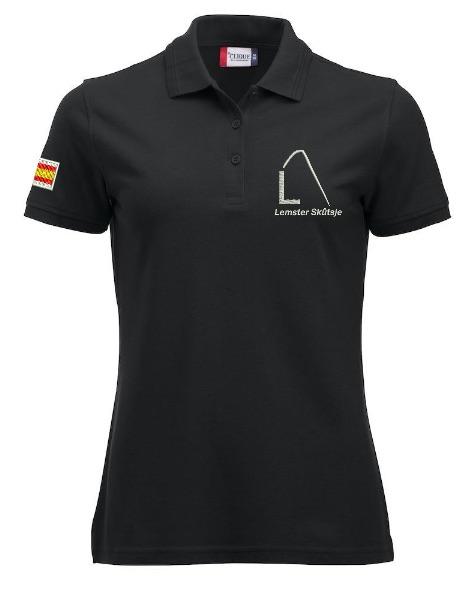 Dames polo, zwart, met logo Lemster Skûtsje, door ZijHaven3 borduurstudio Lemmer