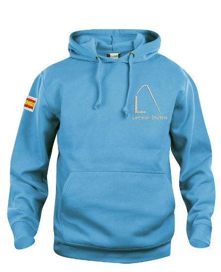 Hoody sweater, unisex, turquise, met logo Lemster Skûtsje, door ZijHaven3 borduurstudio Lemmer