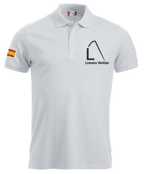 Heren polo, wit, met logo Lemster Skûtsje, door ZijHaven3 borduurstudio Lemmer