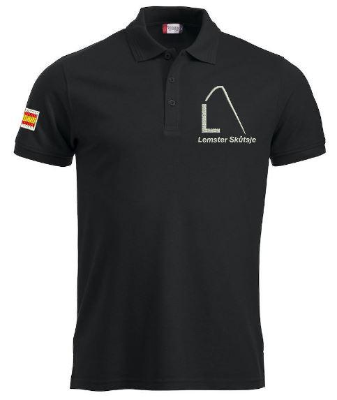 Heren polo, zwart, met logo Lemster Skûtsje, door ZijHaven3 borduurstudio Lemmer