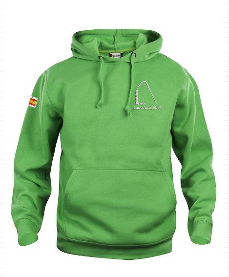 Hoody sweater, unisex, appel groen, met logo Lemster Skûtsje, door ZijHaven3 borduurstudio Lemmer