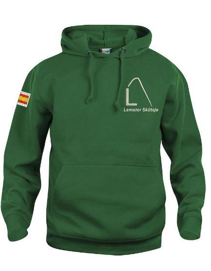 Hoody sweater, unisex, flessen groen, met logo Lemster Skûtsje, door ZijHaven3 borduurstudio Lemmer