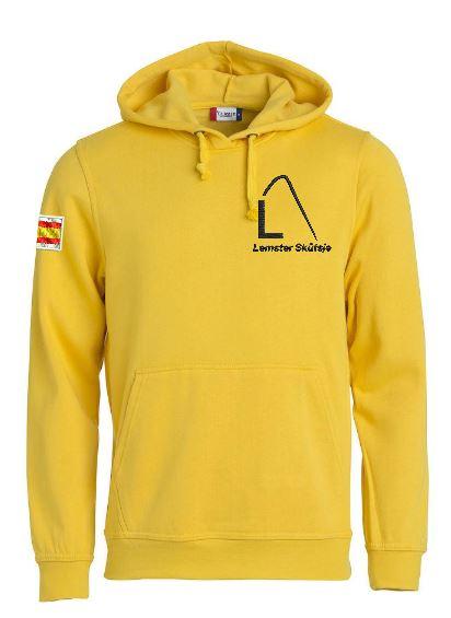 Hoody sweater, unisex, geel, met logo Lemster Skûtsje, door ZijHaven3 borduurstudio Lemmer