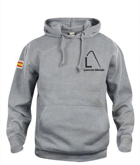 Hoody sweater, unisex, gemeleerd grijs, met logo Lemster Skûtsje, door ZijHaven3 borduurstudio Lemmer
