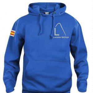 Hoody sweater, unisex, kobalt blauw, met logo Lemster Skûtsje, door ZijHaven3 borduurstudio Lemmer