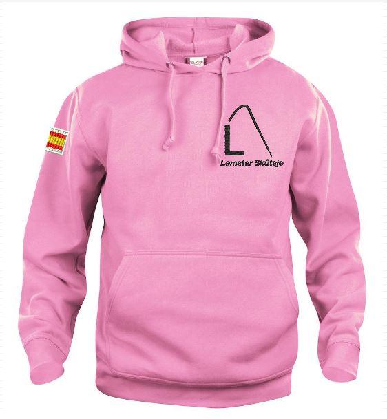 Hoody sweater, unisex, licht roze, met logo Lemster Skûtsje, door ZijHaven3 borduurstudio Lemmer