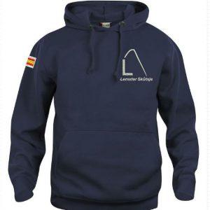 Hoody sweater, unisex, navy, met logo Lemster Skûtsje, door ZijHaven3 borduurstudio Lemmer