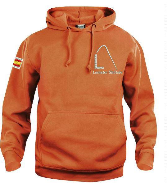 Hoody sweater, unisex, oranje, met logo Lemster Skûtsje, door ZijHaven3 borduurstudio Lemmer