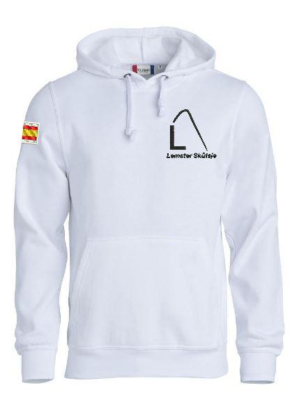 Hoody sweater, unisex, wit, met logo Lemster Skûtsje, door ZijHaven3 borduurstudio Lemmer