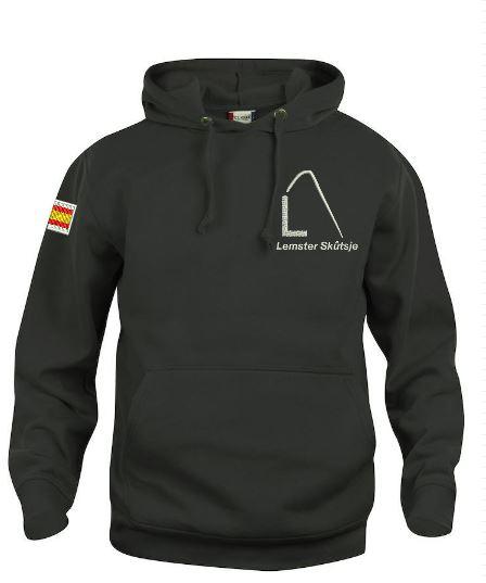 Hoody sweater, unisex, zwart, met logo Lemster Skûtsje, door ZijHaven3 borduurstudio Lemmer