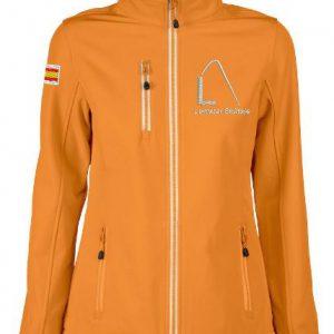 Softshell, dames, getailleerd, oranje, met logo Lemster Skûtsje, door ZijHaven3 borduurstudio Lemmer