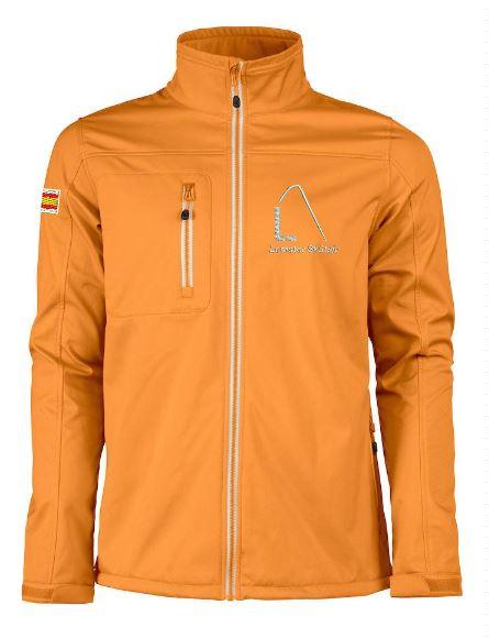 Softshell, heren, getailleerd, oranje, met logo Lemster Skûtsje, door ZijHaven3 borduurstudio Lemmer