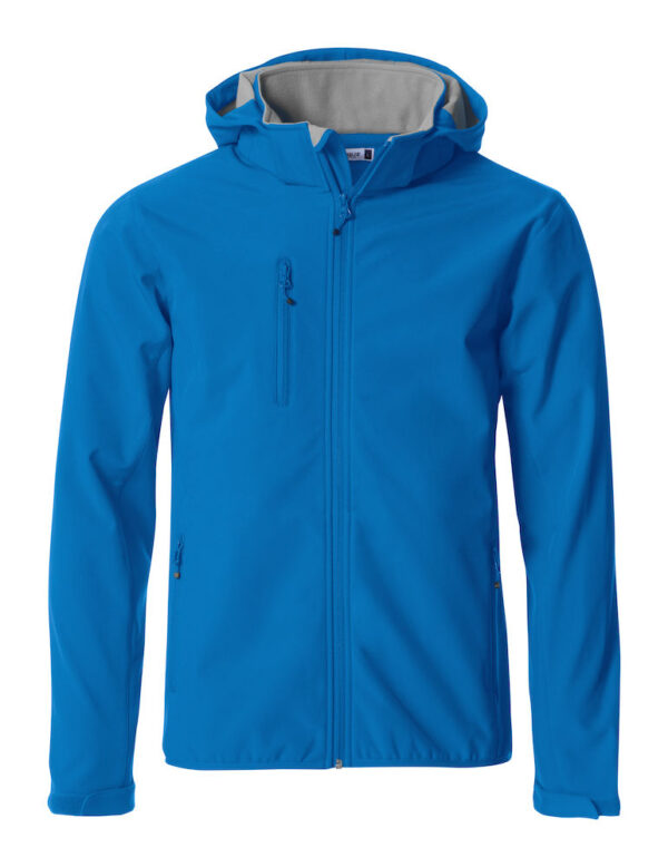 Personalised soft shell jacket, man/uni, cobalt blue, with logo Icelandic Horse embroidered on the back, by ZijHaven 3, borduurstudio Lemmer