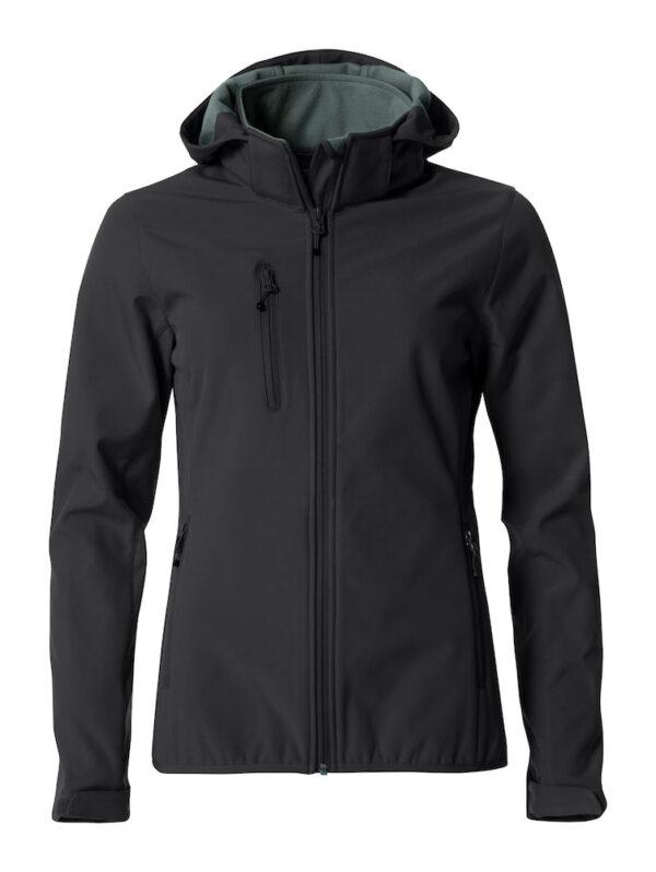 Personalised soft shell jacket, black, with logo Icelandic Horse embroidered on the back, by ZijHaven 3, borduurstudio Lemmer