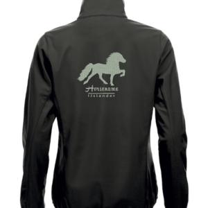 Gepersonaliseerd soft shell jack,dames, zwart, met logo IJslander geborduurd op de rug, door ZijHaven 3, borduurstudio Lemmer