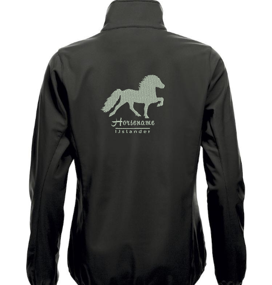 Personalised soft shell jacket, man/uni, blavk, with logo Icelandic Horse embroidered on the back, by ZijHaven 3, borduurstudio Lemmer