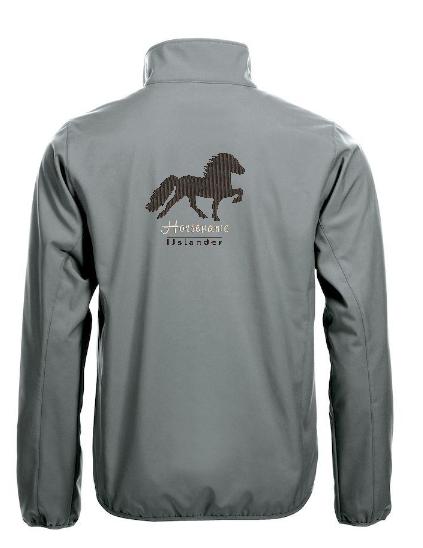 Personalised soft shell jacket, pistol, with logo Icelandic Horse embroidered on the back, by ZijHaven 3, borduurstudio Lemmer