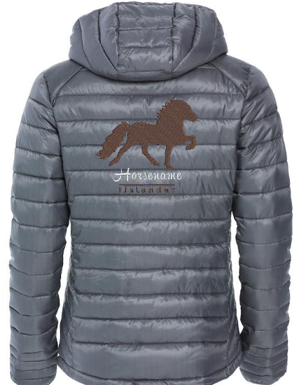 Personalised fitted quilted jacket, ladies, pistol, with logo Icelandic Horse embroidered on the back, by ZijHaven 3, borduurstudio Lemmer